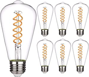 6 PCS iSoptox Dimmable Vintage LED Edison Bulbs, 6W, 60 Watt Equivalent, Warm White 2700K, Antique Flexible Spiral LED Filament Light Bulb, ST58 (ST19), 600 Lumens, E26 Base, Clear Glass