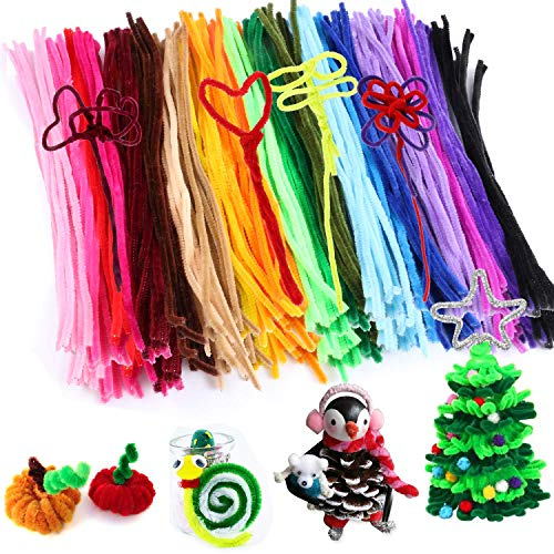 300pcs Pipe Cleaners for Easter Decorations Bulk Chenille Stem Craft Supplies fuzzy sticks arts and crafts for Kids Craft Wire as educational toys for DTY School Art Craft Projects, 30 Assorted Colors