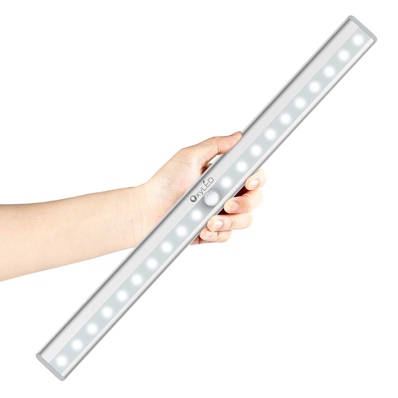 OxyLED Motion Sensor Closet Lights, Wardrobe Light USB Rechargeable Under Cabinet Lightening, Stick-on Cordless 20 LED Night Light Emergency light, Safe Lights with Magnetic Strip, 1 Pack, T-02S