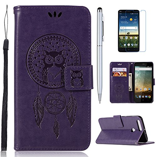- mellonlu ZTE Sequoia Case, ZTE Blade Z MAX Case, ZTE Z982 Case, Premium PU Leather Flip Fold Cover Stand Cards Holder Wallet Protective Case for ZTE Blade ZMax Z982 (Not fit ZTE Zmax Pro Z981)