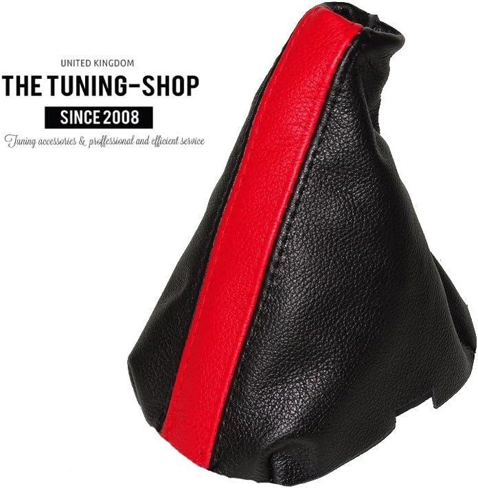 The Tuning-Shop Ltd Gear Stick Gaiter Black Leather Red Stripe