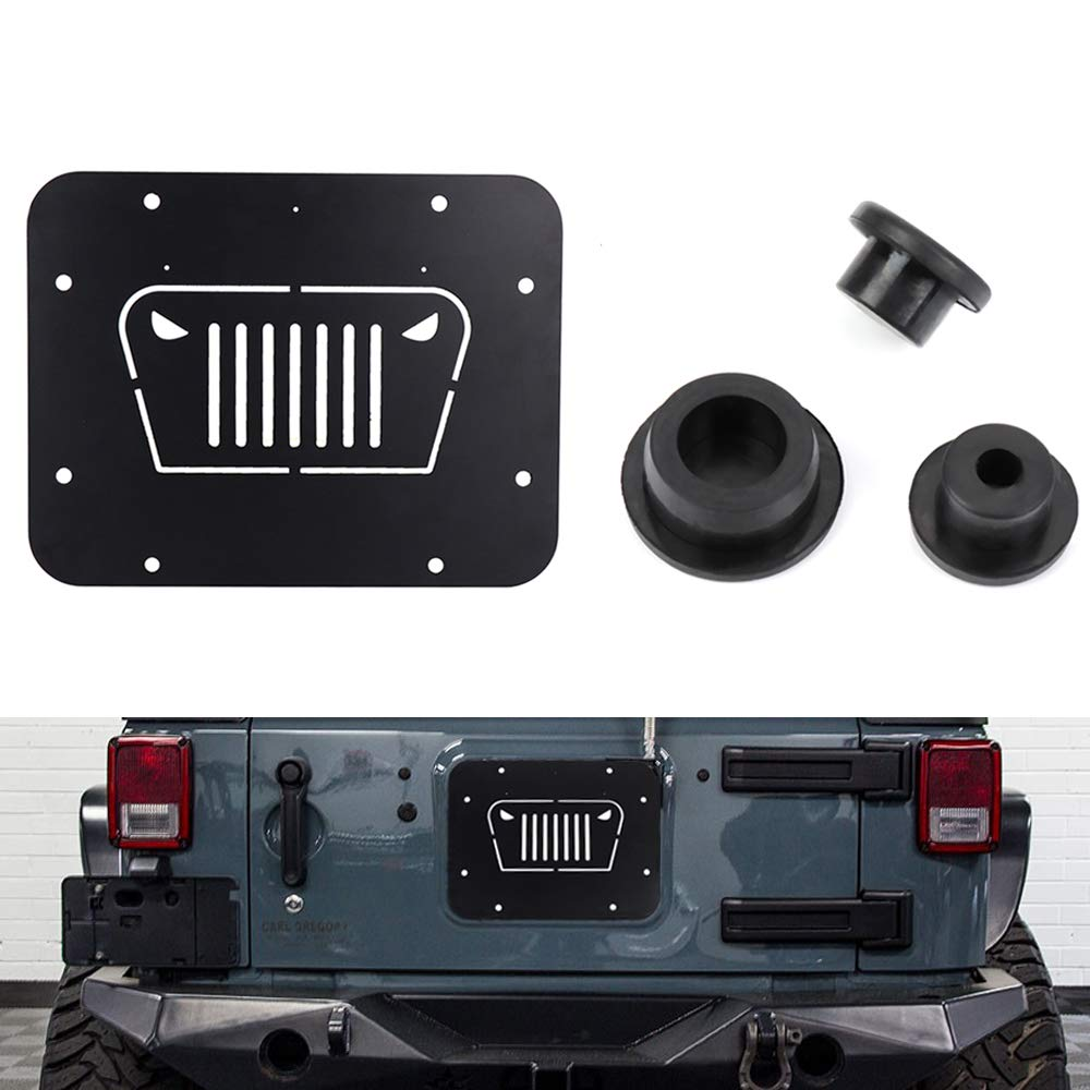 Fits Jeep Wrangler Spare Tire Delete Plate & Tailgate Body Plugs for JK JKU 2007 to 2017