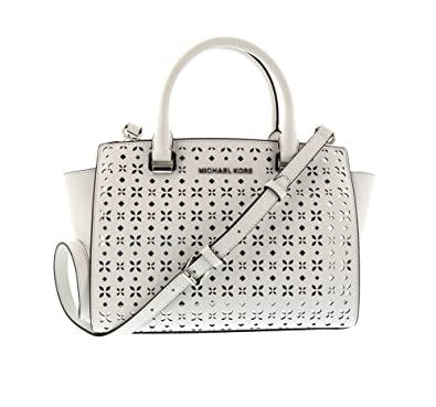 Image Unavailable. Image not available for. Color  MICHAEL MICHAEL KORS  Selma Medium Saffiano Leather Satchel (Medium, Perforated White) 02f3c3b725