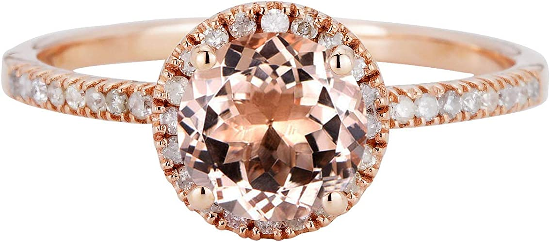 Classic,Minimal,Promise Ring For Girlfriend Authentic Morganite 1.50 Carat Round Cut Real Diamond Halo Engagement Ring 10k Solid White Gold