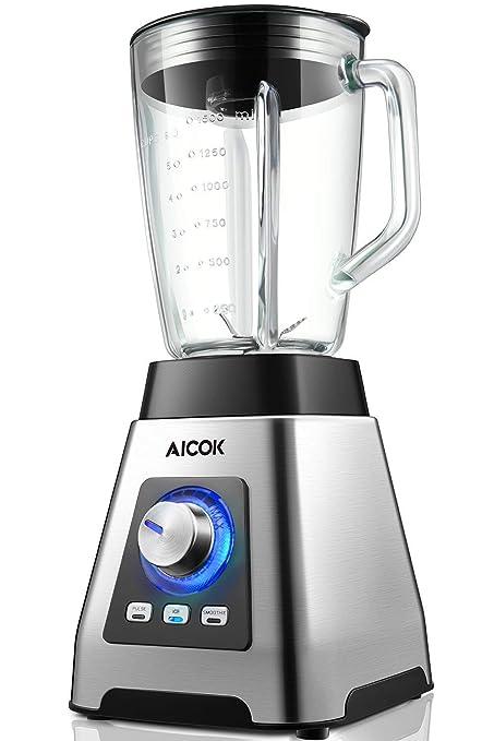 Aicok Batidora de vaso, Batidora para Smoothie 1200W, 7 niveles de Potencia+Turbo,Vidrio Resistente al Calor 1.5L, 3 Programas (24000rpm, sin BPA), 6 ...