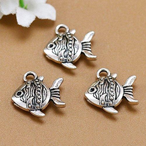 (10 Fish Charm 15x15mm Antique Silver Tone Nimo Fish Charm Sea Animal Charm Pendant (NS751))