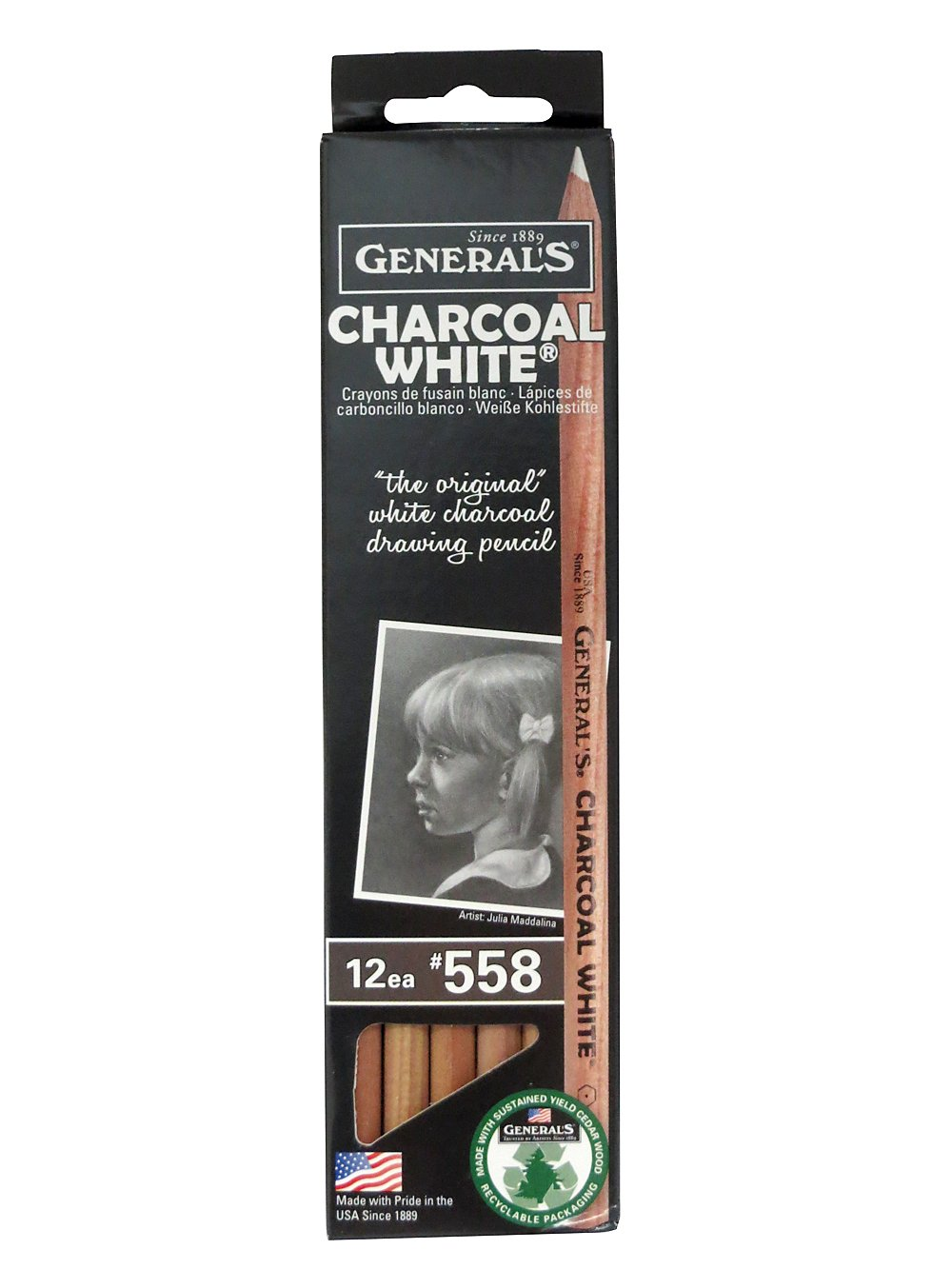 General Charcoal Pencil 558 White Box Of 12 GENERAL PENCIL
