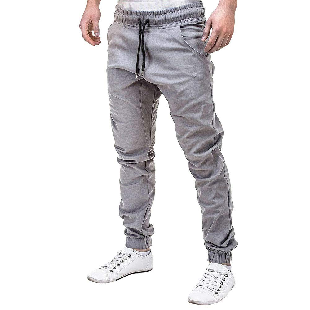 Men's Chino Jogger Pants Teen Boys Casual Slim Fit Workout Sweatpants Outdoor Running Sports Pants Trousers