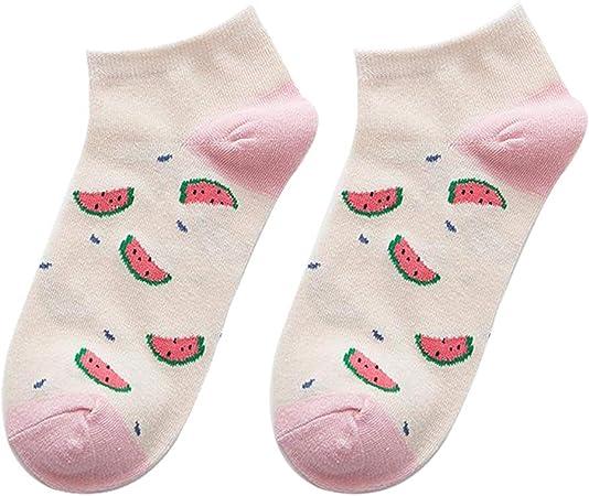 Muzhili3 - Calcetines Cortos de Corte bajo para Mujer, Tobilleros, Botes, Dibujos Animados, Estampado de sandía, Calcetines de algodón Transpirable para Mujer Random Color: Amazon.es: Hogar