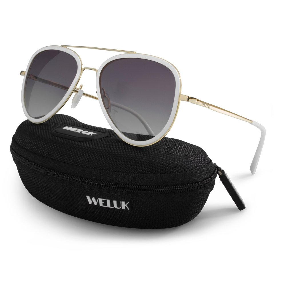 WELUK Polarized Aviator Sunglasses 60mm Large Frame Mens Womens Gradient UV400 Lens (White, 60)