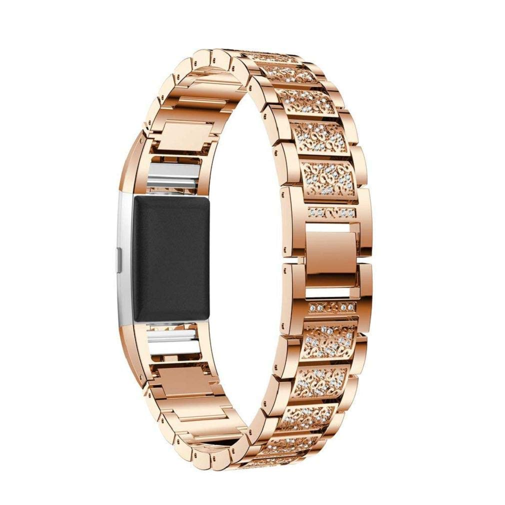 Fashion Clearance! Noopvan Fitbit Charge 2 Strap,Crystal Stainless Steel Watch Band Wrist Strap for Fitbit Charge 2 Smart Watch (Rose Gold)