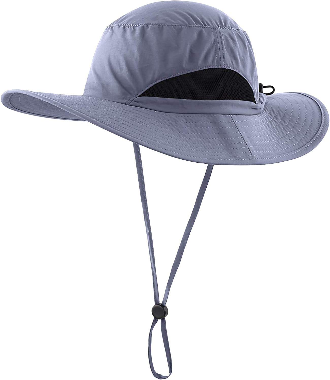 LLmoway Kids Sun Protection Hat Quick Dry Adjustable Wide Brim Mesh Bucket Hat
