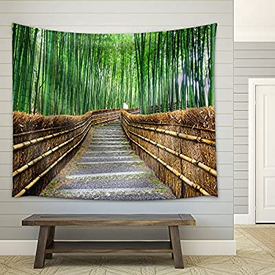 Path to Bamboo Forest Arashiyama Kyoto Japan - Fabric Wall Tapestry Home Decor - 51x60 inches