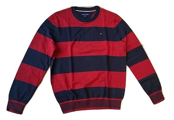 fdd85dc8 Tommy Hilfiger Men's Striped Crewneck Sweater: Amazon.co.uk: Clothing