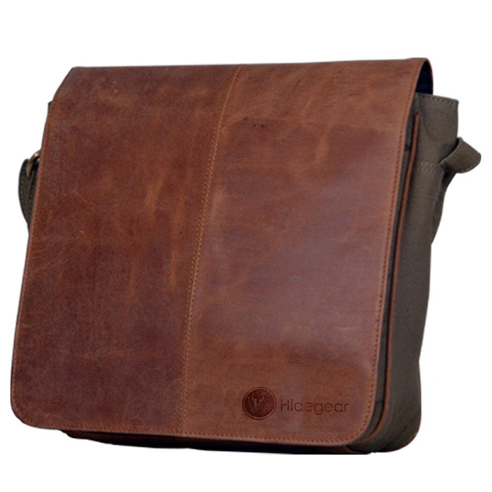Hidegear Men's Leather-Canvas Messenger Bag: Amazon.in: Bags ...
