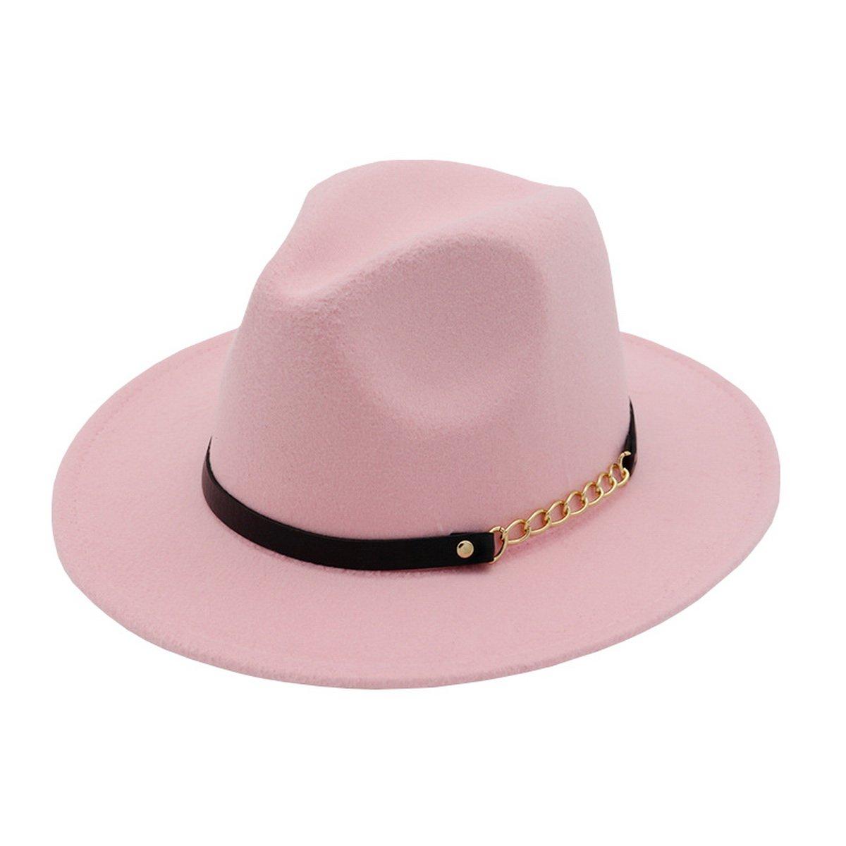 AHATECH Donna Cappello Panama Fedora in Tessuto di Lana Invernale Cappello a Tesa Larga