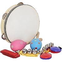 KKmoon 8 pçs/set Brinquedos Musicais Instrumentos de Percussão Banda Rhythm Kit Incluindo Pandeiro Maracas Castanholas…