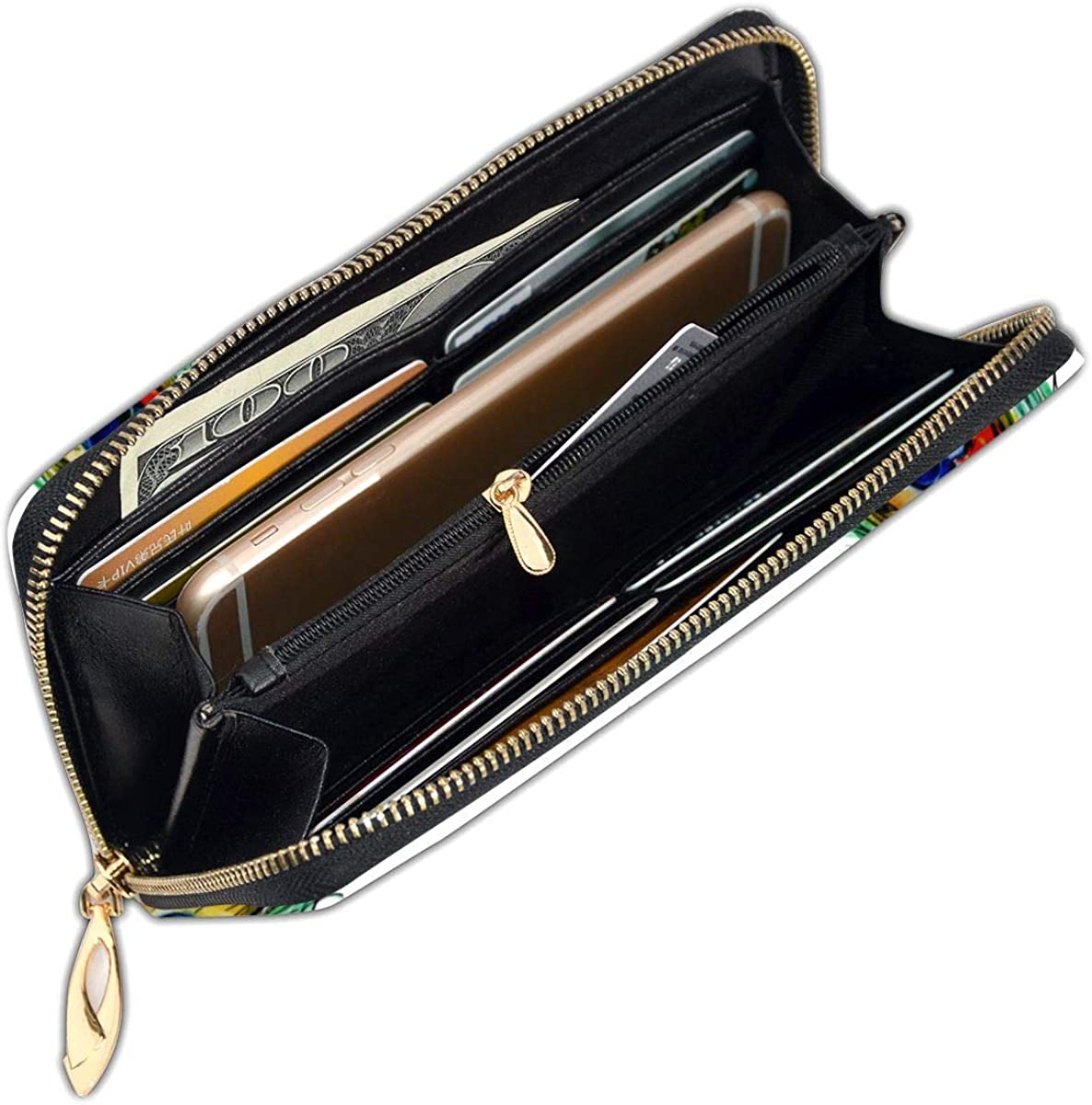 Peacock Feather Womens Genuine Leather Wallet Zip Around Wallet Clutch Wallet Coin Purse