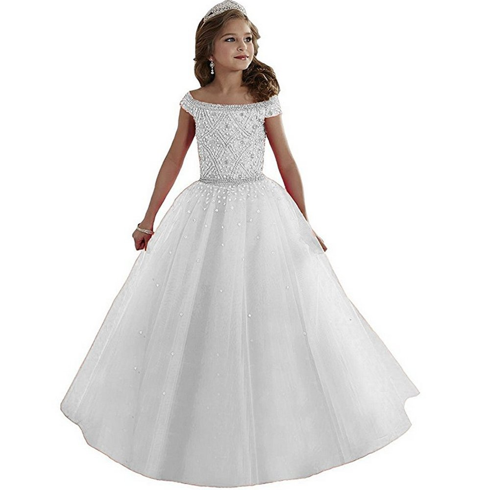 Meilishuo Girls Bateau Beaded Floor Length Pageant Ball Gowns 12,White