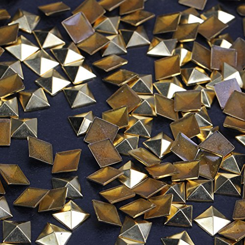 Hotfix Iron On,9X9mm Flat Back Pyramid Studs - 1/4 Flatback Glue on Studs 100pcs(Gold, Pyramid 9x9mm)