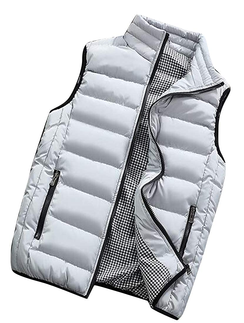 WAWAYA Mens Sleeveless Thicker Plain Winter Warm Down Quilted Jacket Coat Vest