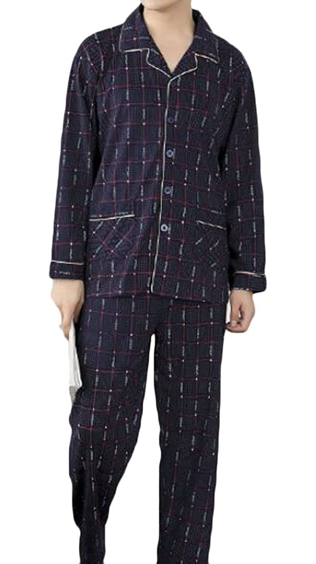 KLJR Men Leisure 100/% Cotton Lapel Plaid Long Sleeve Premium Woven Pajama Sleepwear Set