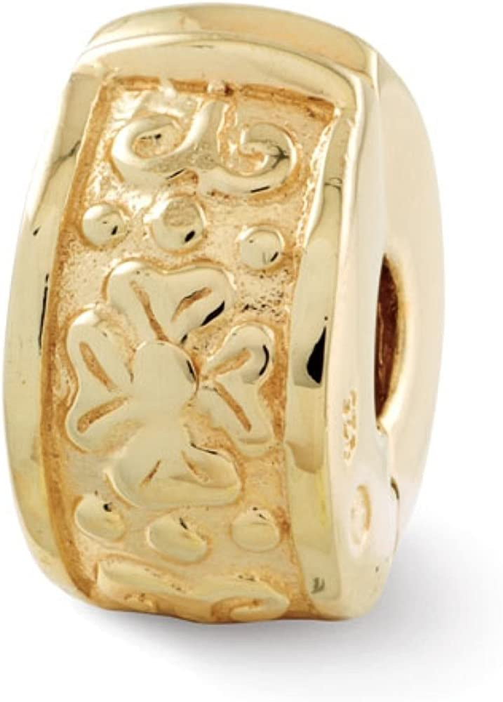 Sterling Silver Reflections 14k Gold-plated /& Polished Flowers Bead