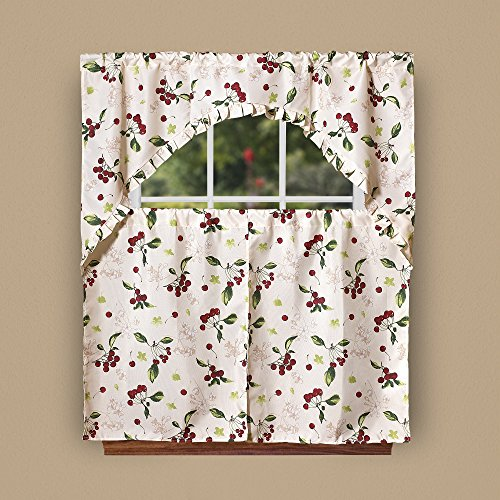 Violet Linen European Cherries Vintage Print 3 Piece Kitchen Curtain Set, Beige
