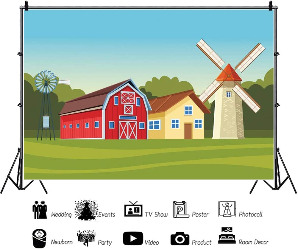 Haoyiyi 10x8ft Birthday Background Cartoon Red Barn Farm Farmland Green Grass Fence Rustic Country House Wildmill Backdrop Photography Photo Party Dessert Table Wallpaper Photoshoot