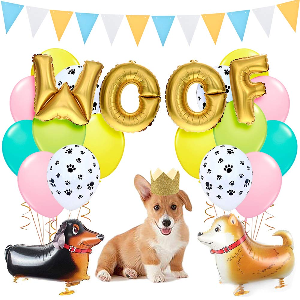 Kreatwow Dog Party Decorations Woof Dog Balloons Walking Dog Balloons Dog Party Hats for Puppy Dog Birthday Pet Theme Baby Shower Birthday Party Supplies