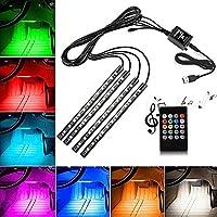 LED Auto Interni, 4 pc EECOO Luci al neon Interiori automobile di 48 lampade di decorazione Kit di illuminazione Luci auto interne rgb multifunzionali dell'automobile di Luci Interiori Per Auto