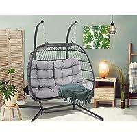 Gardeon Outdoor Chair Hammock Hanging Swing Garden Patio Double Egg Chair-Grey