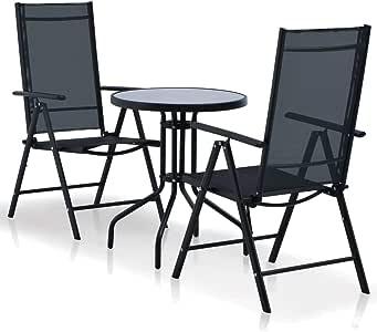 Fesjoy Balcón del jardín Conjunto de Muebles 2 Asientos Mesa de Comedor Redonda con 2 sillas Plegables Muebles de Comedor al Aire Libre Marco de Acero Superficie Textilene: Amazon.es: Hogar