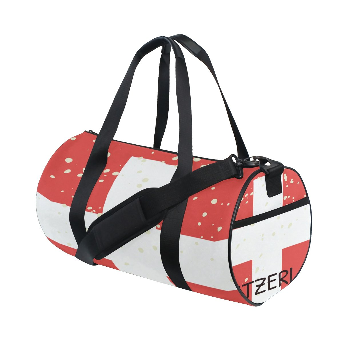 Distressed Switzerland Flag Travel Duffel Shoulder Bag ,Sports Gym Fitness Bags