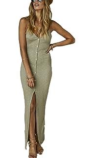 cea65d6093c7 Yimeili Women s Summer Button Down Adjustable Spaghetti Straps Maxi Dress  Sleeveless Bodycon Sexy Evening Dresses