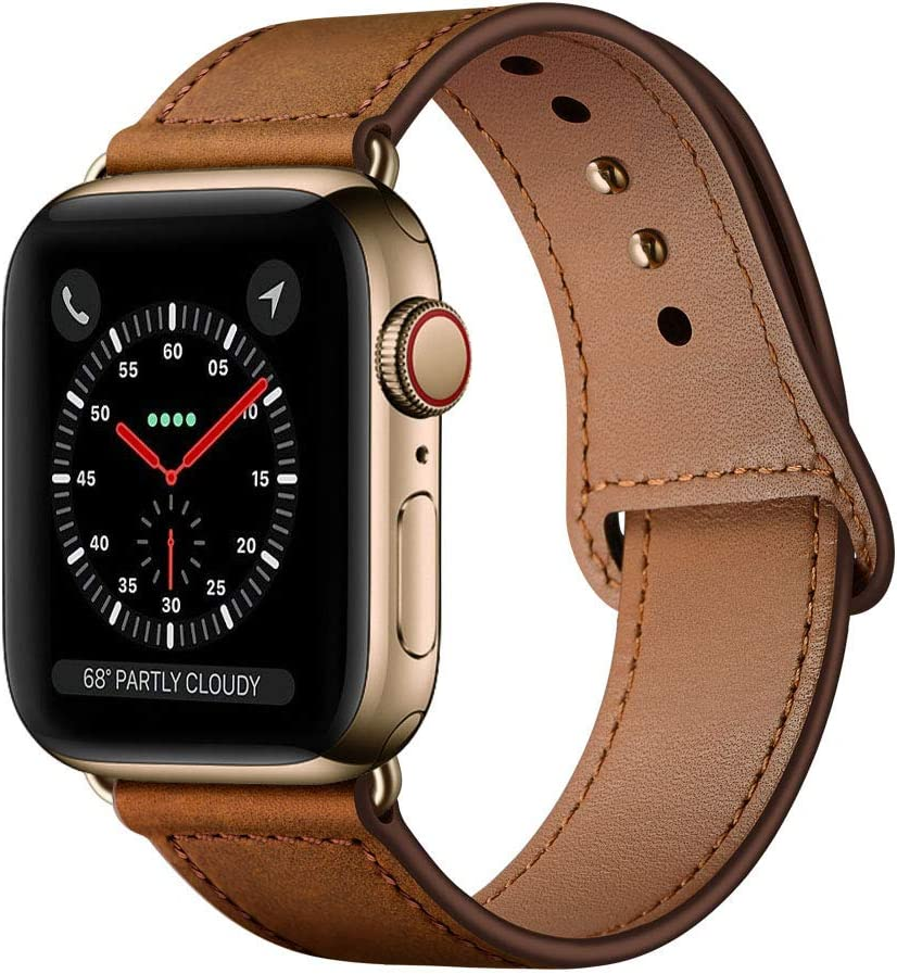 KYISGOS Compatible with iWatch Band 44mm 42mm, Genuine Leather Replacement Band Strap Compatible with Apple Watch Series 6 5 4 3 2 1 SE 42mm 44mm, Retro Brown Band with Gold Adapter