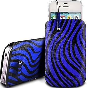N4U Online - Samsung Galaxy Young 2 PU Zebra Diseño deslizamiento cordón tirador de la cremallera en la caja de la bolsa con cierre rápido y Mini Stylus Pen - Azul