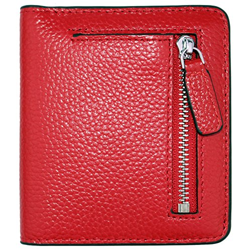 Women's RFID Blocking Small Genuine Leather Wallet Ladies Mini Card Case Purse (Red)