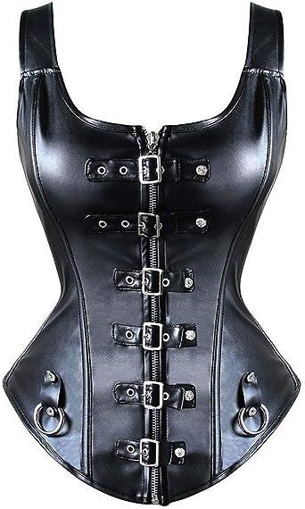 MISS MOLY Donna Corsetto Ecopelle PVC Gothic Steampunk Bustino Overbust Cool-Style Costume di Halloween 12 Disossato Halter al Collo con Gilet Fibbia Metallo Nero G-String