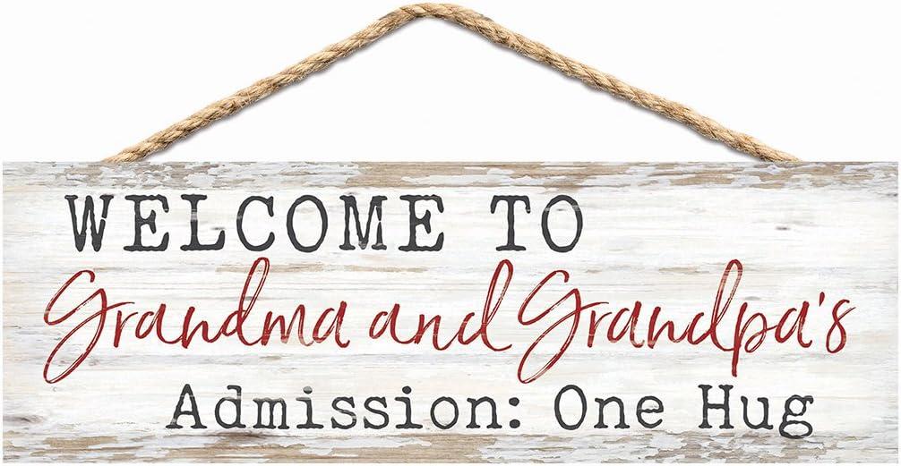 P. Graham Dunn Grandma & Grandpa's Admission Hug Whitewash 10 x 3.5 Wood Hanging Wall Sign
