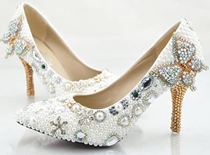 3afde247b7594 Amazon.com: Ycmdm Women Handmade Crystal Shoes Wedding Shoes Ultra ...
