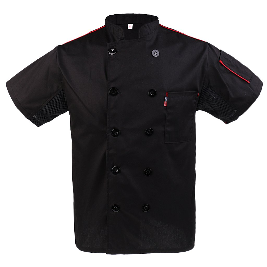 Dovewill Mens Womens Five Star Chef Apparel Mesh Sleeve Executive Chef Coat Jacket