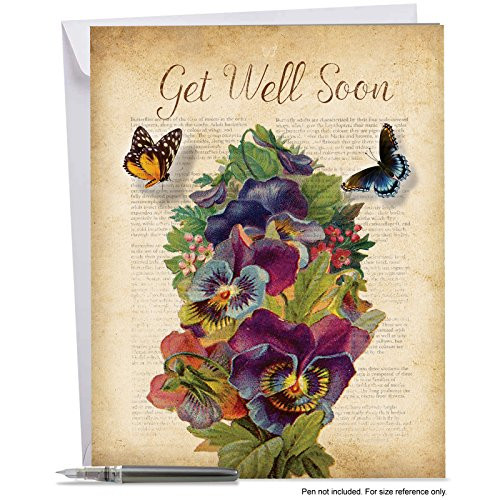 J6477BGWG Jumbo Get Well Card: Fluttering Words, Featuring a Collage of Vintage Pansy and Butterfly Images with an Antiqued Book Page, With Envelope (Extra Large Size: 8.5