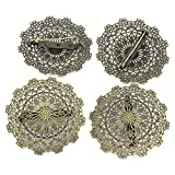 ARRICRAFT 10pcs Alloy Flower Brooches Antique Bronze Filligree Findings for Jewelry Making, 55mm in Diameter
