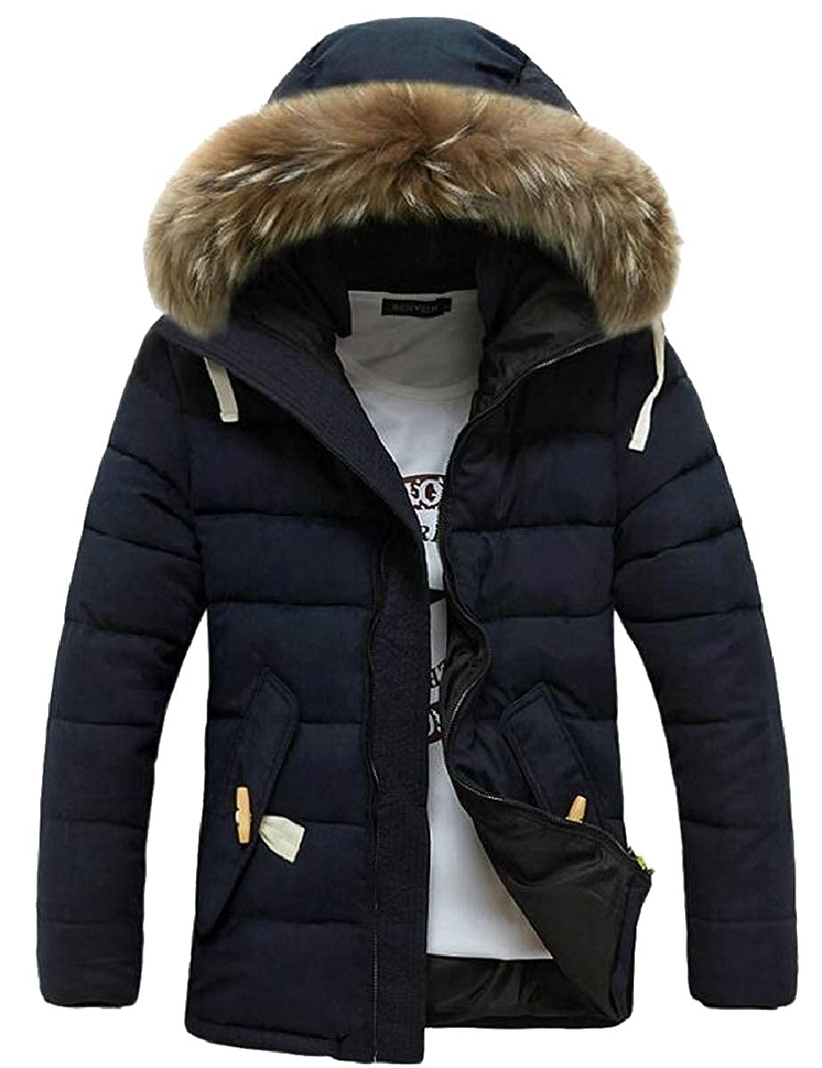YIhujiuben Mens Winter Warm Solid Faux Fur Hoodie Down Quilted Jacket Coat Outwear