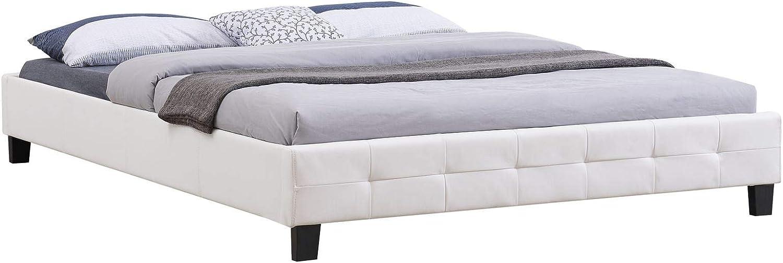IDIMEX - Cama doble futón para adulto Gomera con somier Queen de 160 x 200 cm, para cama de 2 plazas/2 personas, revestimiento sintético, color blanco