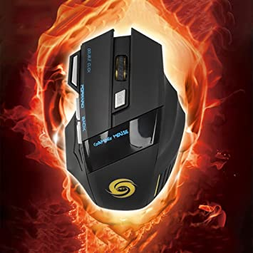 Black Shentesel Optical Gaming Mouse Professional Wired 5500DPI 7 Buttons USB LED Computer Mice