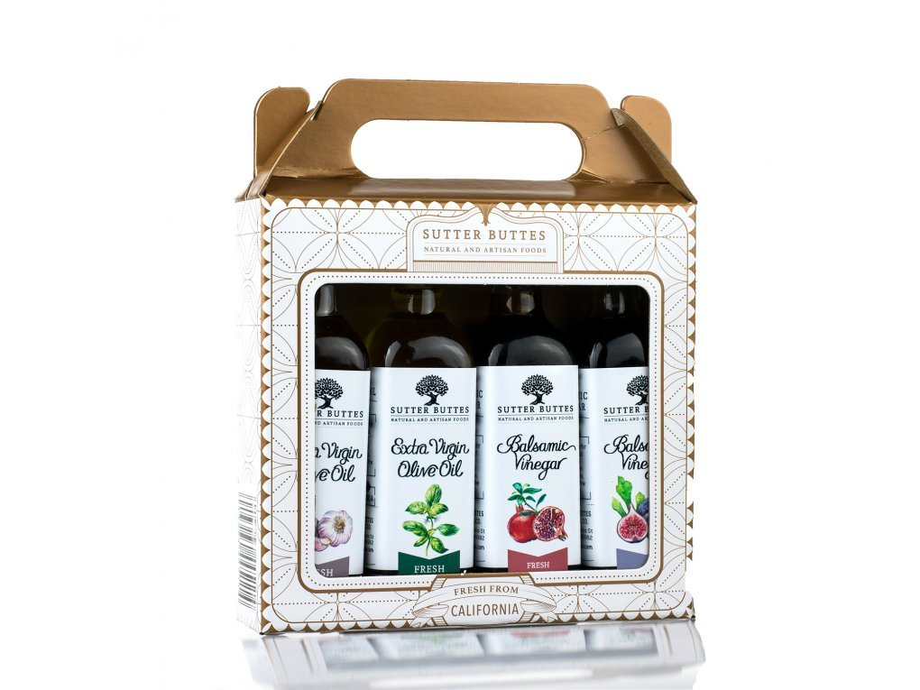 Sutter Buttes Mini Gift Sampler w/Extra Virgin Olive Oil and Aged Balsamic Vinegar (4-60ml Bottles); Premium Collection of Artisan Gourmet Flavored EVOO and Handcrafted Grape Must Reduction Vinegar