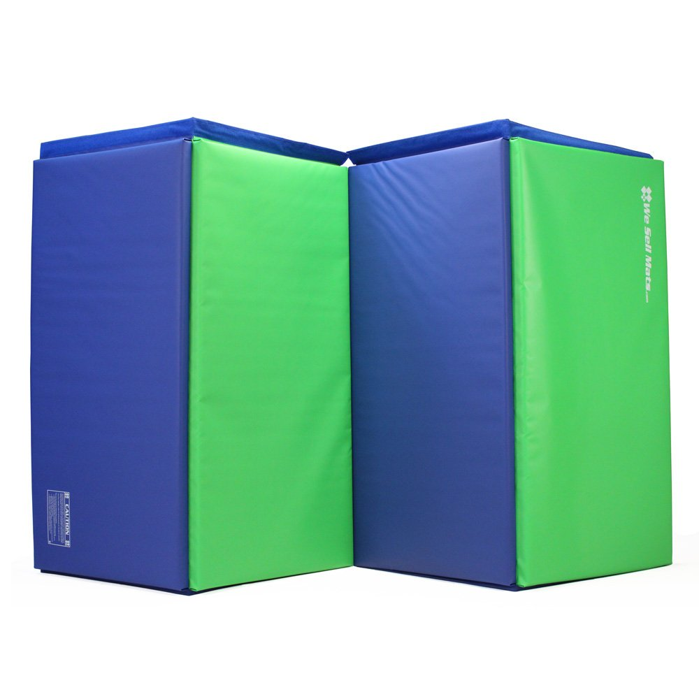 We Sell Mats Gymnastics Tumbling Exercise Folding Martial Mat with Hook/Loop Fasteners, Blue/Lime Green, 1.5''
