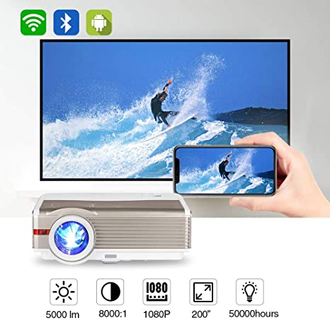EUG 5000 Lumen WXGA High Brightness LCD Projector with Bluetooth Wi-Fi Support Full HD 1080P Airplay Smartphone Wireless Screen Cast HDMI LED ...